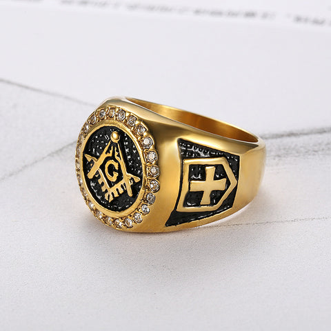Masonic Gold & Diamond Ring