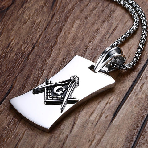 Mason Dog Tag Pendant Necklace