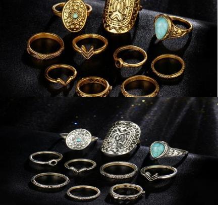 Retro Boho Ring Set Gold or Silver - Use FREESHIP at checkout for free shipping