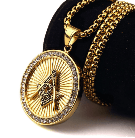 Masonic Gold/Silver & Diamond Necklace