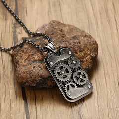 Steampunk Dog Tag Necklace