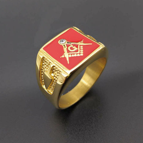 Classic Antique Red Freemason Ring