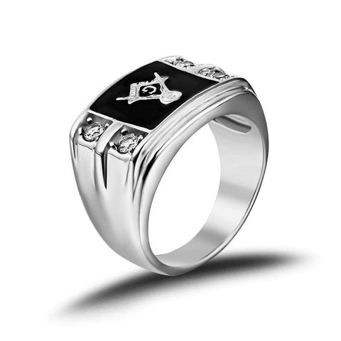 Black & Gold Masonic Stainless Steel Diamond Ring