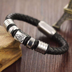 Image of Masonic Handmade Leather Bracelet