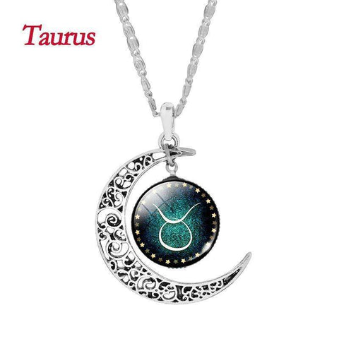 Crescent Moon Zodiac Necklace