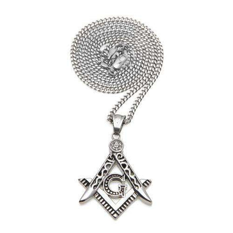 Masonic 14K Gold/Silver Pendant Necklace With Diamond