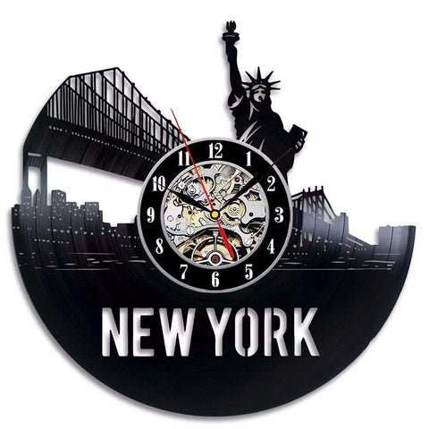 New York Statue Of Liberty Vinyl Record Clock