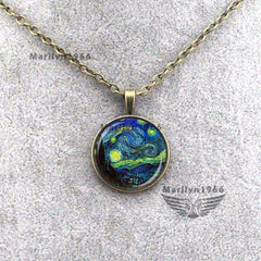 Van Gogh Starry Night Glass Necklace