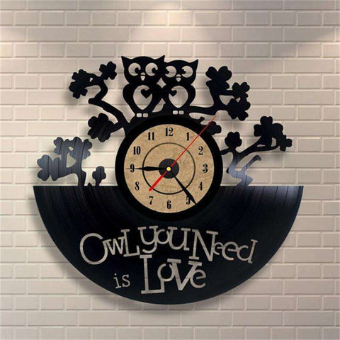 Retro 'Owl you Need is Love' Shape Vinyl Record Clock