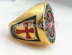 Antique Stainless Steel Gold/Silver Knights Templar Ring