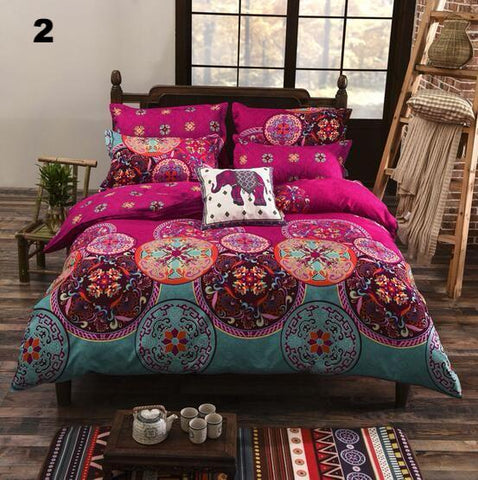Bohemian Floral Printed Duvet Bed Set