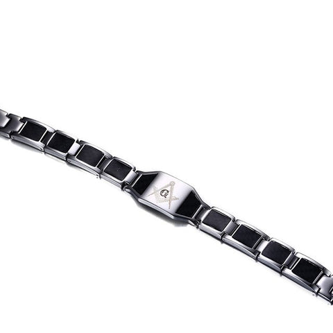 Carbon Fiber & Stainless Steel Magnetic Freemason Bracelet