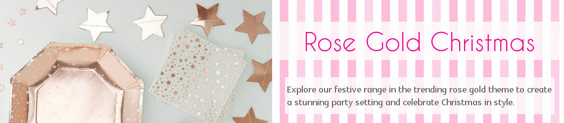 Rose Gold Christmas Party Supplies UK