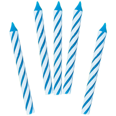 Striped Blue Birthday Candles