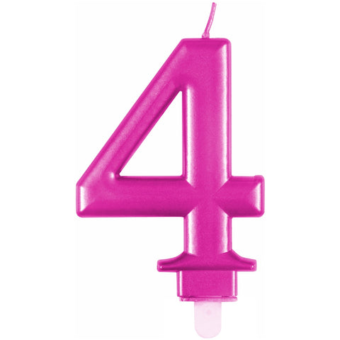 Metallic Pink Number 4 Birthday Candle
