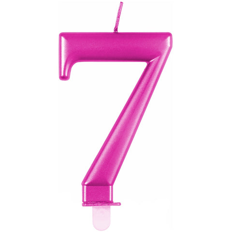 Metallic Pink Number 7 Birthday Candle