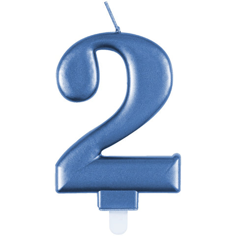 Metallic Blue Number 2 Birthday Candle