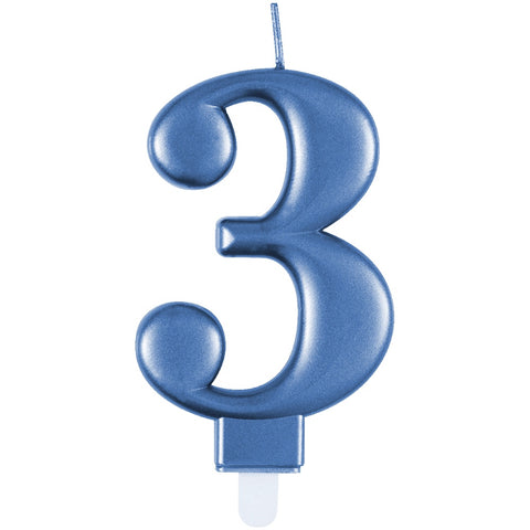 Metallic Blue Number 3 Birthday Candle