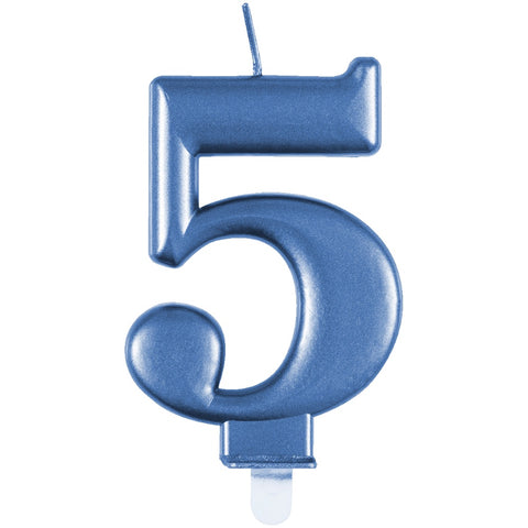 Metallic Blue Number 5 Birthday Candle