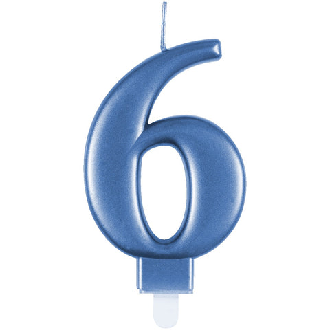 Metallic Blue Number 6 Birthday Candle