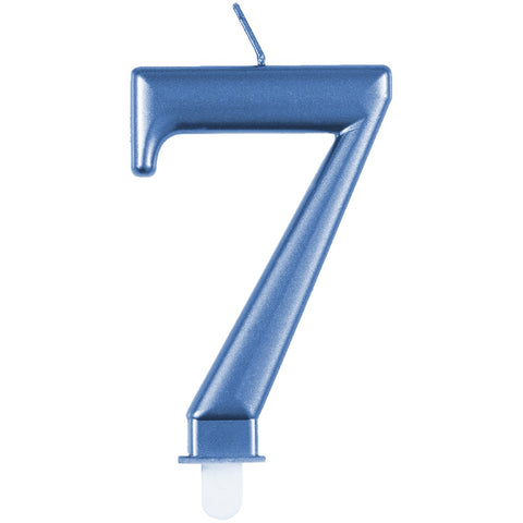 Metallic Blue Number 7 Birthday Candle