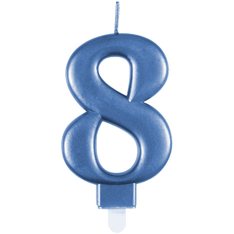 Metallic Blue Number 8 Birthday Candle