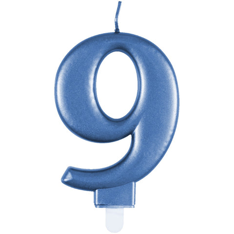 Metallic Blue Number 9 Birthday Candle