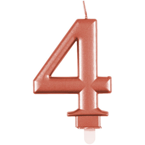 Metallic Rose Gold Number 4 Birthday Candle