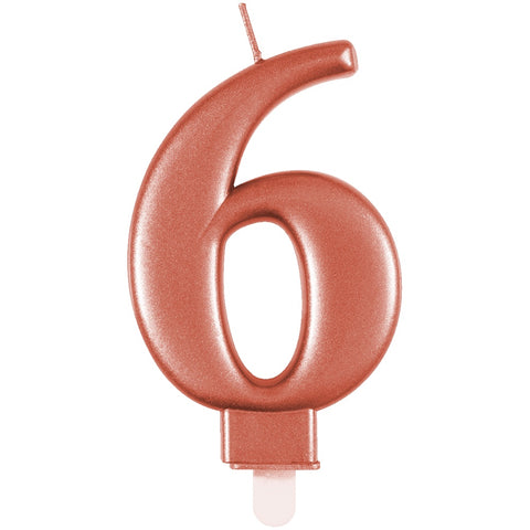 Metallic Rose Gold Number 6 Birthday Candle