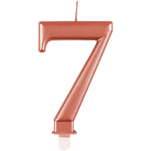 Metallic Rose Gold Number 7 Birthday Candle