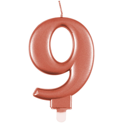 Metallic Rose Gold Number 9 Birthday Candle