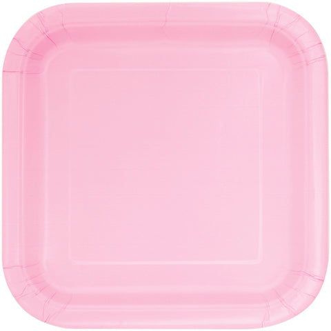 "Baby Pink 9"" Square Party Plates"