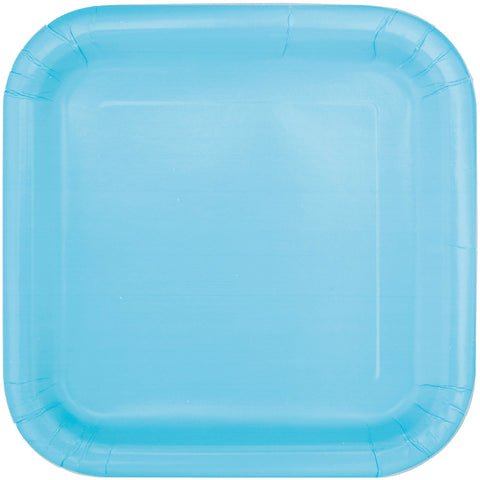 "Baby Blue 9"" Square Party Plates"