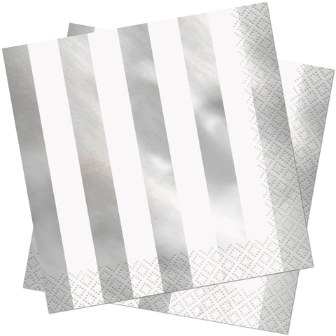 Silver Foil Striped Paper Napkins