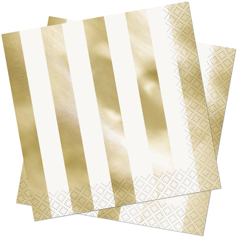 Gold Foil Striped Paper Napkins