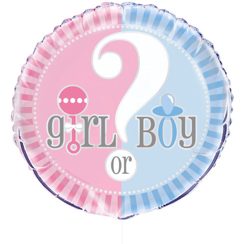"18"" Gender Reveal Girl or Boy Foil Balloon"