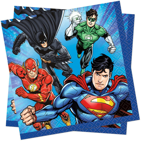 24cm Justice League Paper Napkins - Unique Party - Party Touches