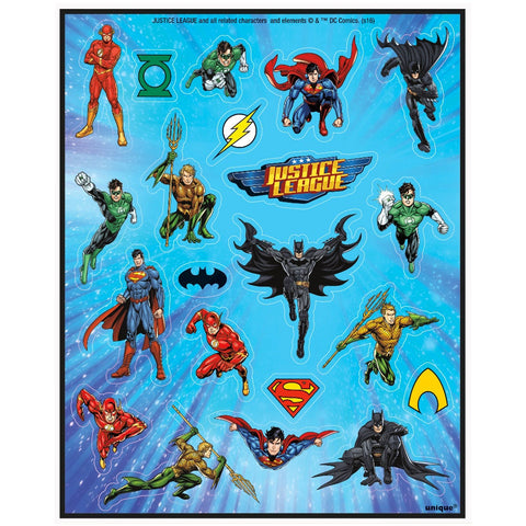 Justice League Sticker Sheets - Unique Party - Party Touches