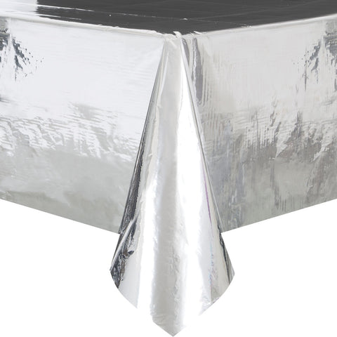 Foil Silver Plastic Tablecloth