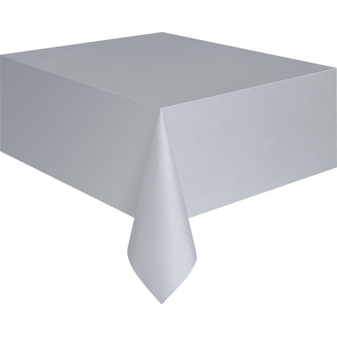 Silver Plastic Table Cover - Unique Party - Party Touches