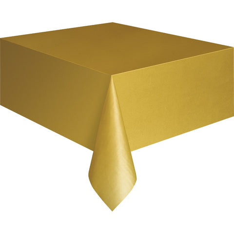 Gold Plastic Table Cover - Unique Party - Party Touches
