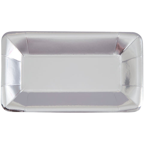 Silver Rectangle Paper Plates