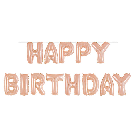 Rose Gold Foil Happy Birthday Letter Balloon Banner - Unique Party - Party Touches