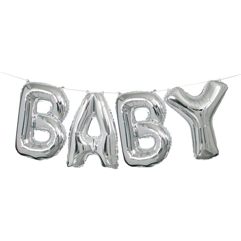 Silver Foil Baby Letter Balloon Banner - Unique Party - Party Touches