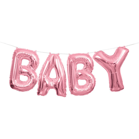 Pink Foil Baby Letter Balloon Banner - Unique Party - Party Touches