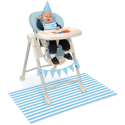 Blue Stripes 1st Birthday High Chair Decorating Kit