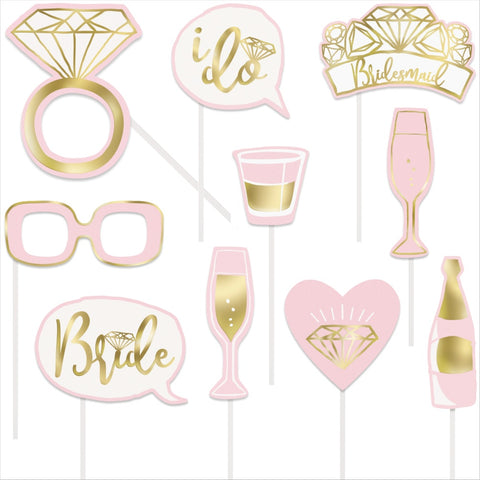 Pink & Gold Bachelorette Party Photo Booth Props
