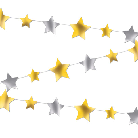 9ft Gold & Silver Star Garland