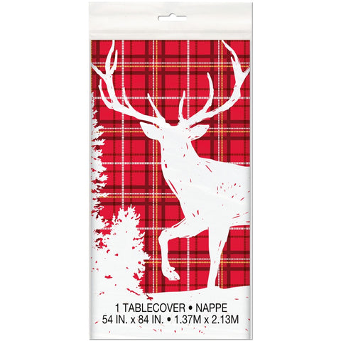 Plaid Deer Christmas Table Cover