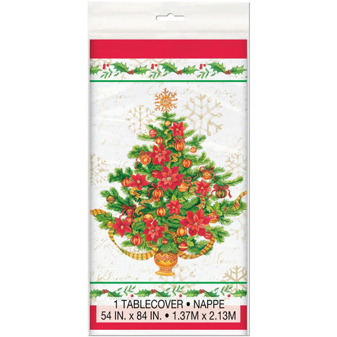 Festive Poinsettia Christmas Table Cover